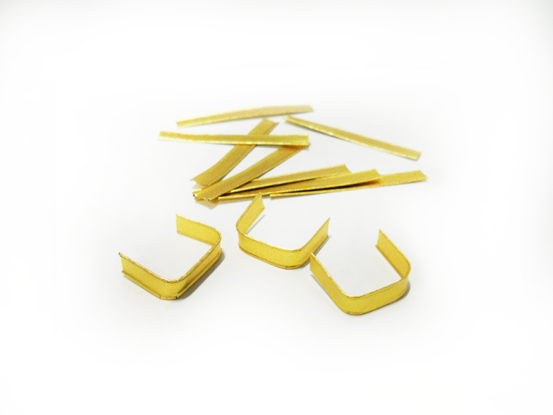 Clips, gold U Form 60mm x 8mm. 1000x